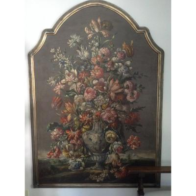 Large Oil On Canvas Flemish Flowers Explosion Ep XIX Century
