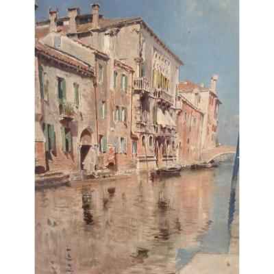 Oil On Canvas Venetian Canal: Artist Vincenzo Caprile (napoli 1856 - 1936)