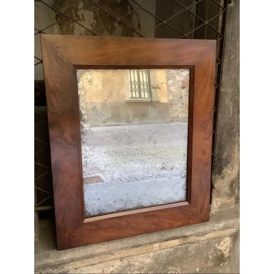 Miroir En Noyer Massif  Ep XVIIIe Siecle