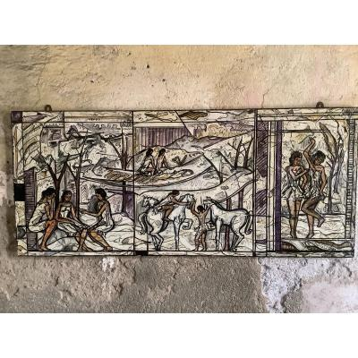 Decorative Panel A 'the Oil With Figures Women And Animals Ep 1970