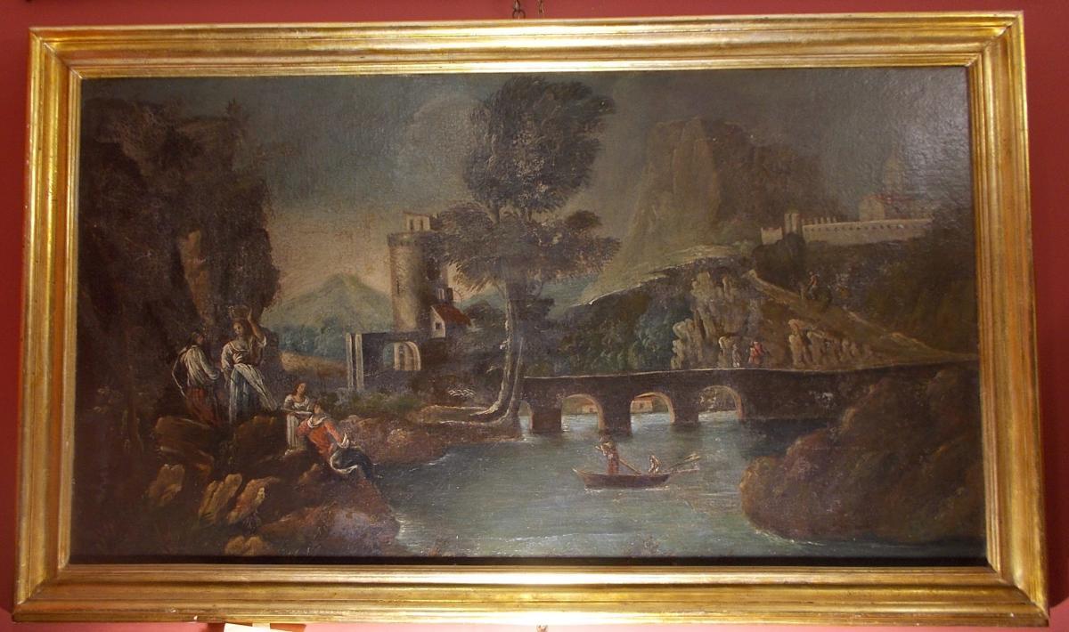 École Italienne du 18ème siècle  paysage Lazio Italie