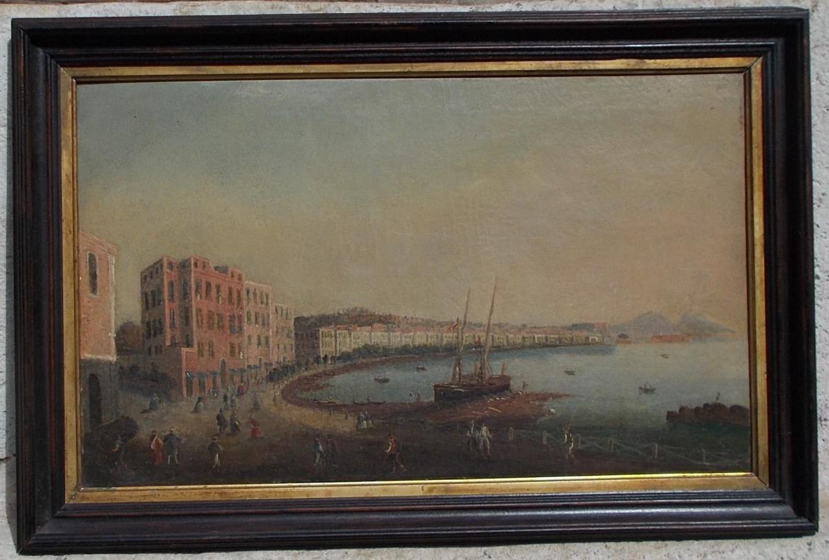 Deux vues de Naples, école Italienne début 19ème siècle