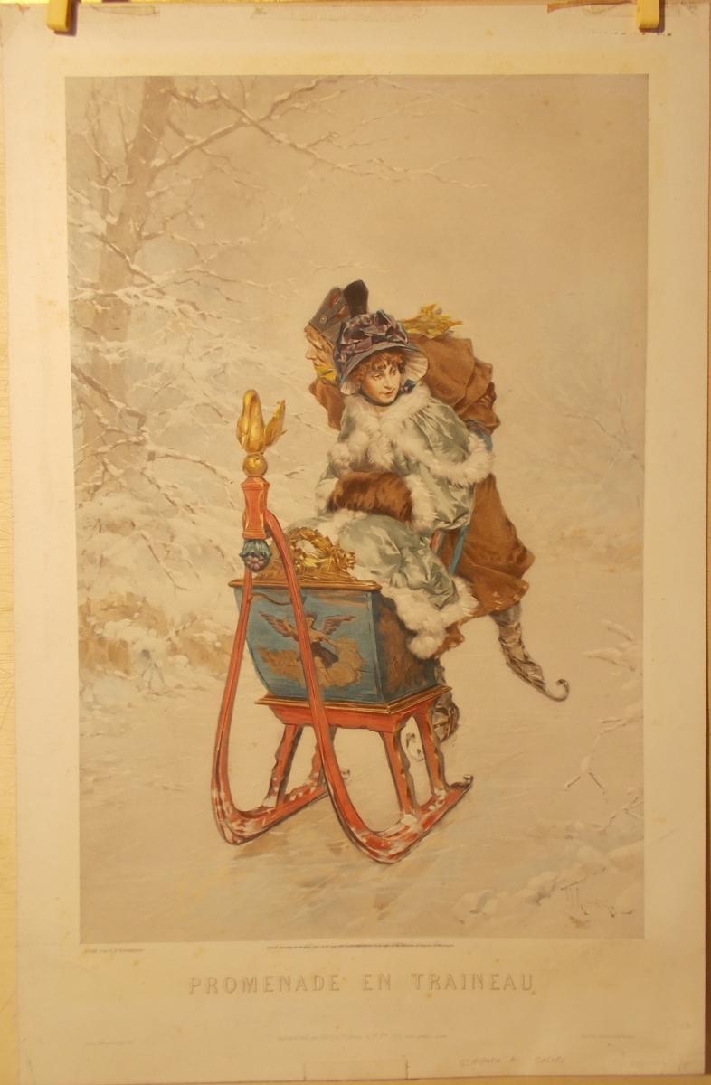 """Lithographie en couleur de 1882 """"Promenade En Traineau"""