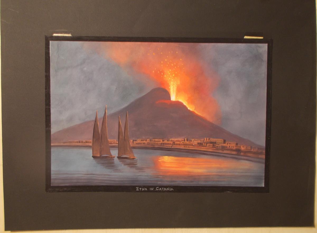 Gouache du 19ème siècle eruption de volcan Etna Catania
