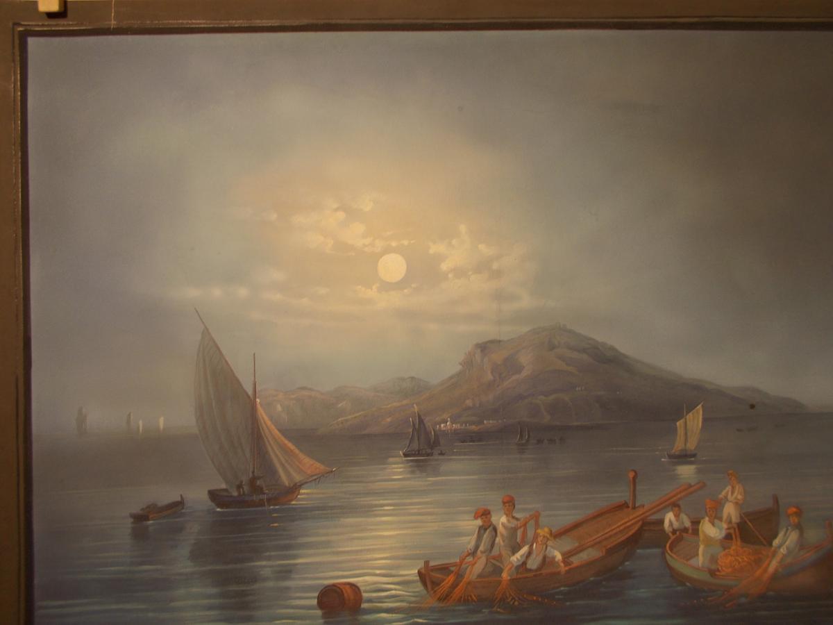 Gouache du 19ème siècle vue nocturne de Capri Naple Italie-photo-2