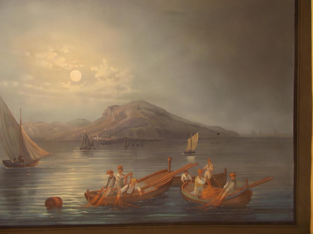 Gouache du 19ème siècle vue nocturne de Capri Naple Italie-photo-3