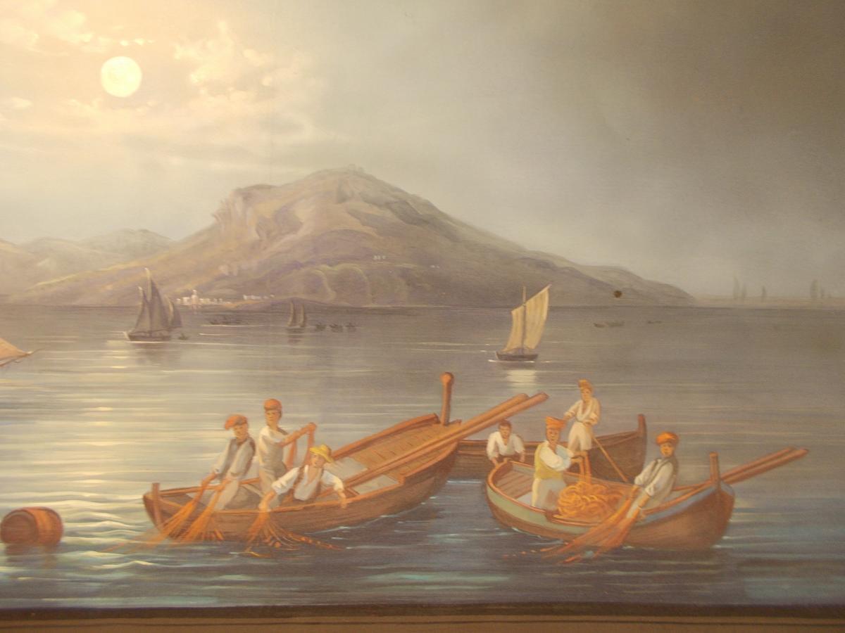 Gouache du 19ème siècle vue nocturne de Capri Naple Italie-photo-4