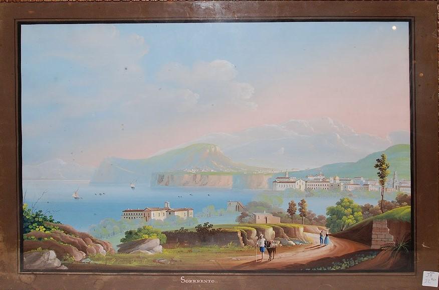 Aquarelle Gouache  vue de Naples Sorrento 19ème siècle