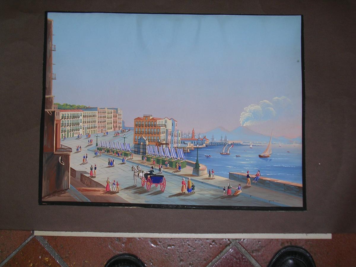 Gouache vue de Naples depuis Posillipo 19ème siècle