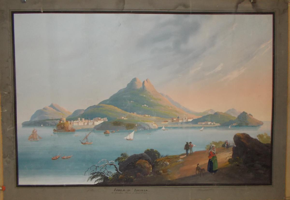 Gouache vue de l' ile d'Ischia Naples 19ème siècle