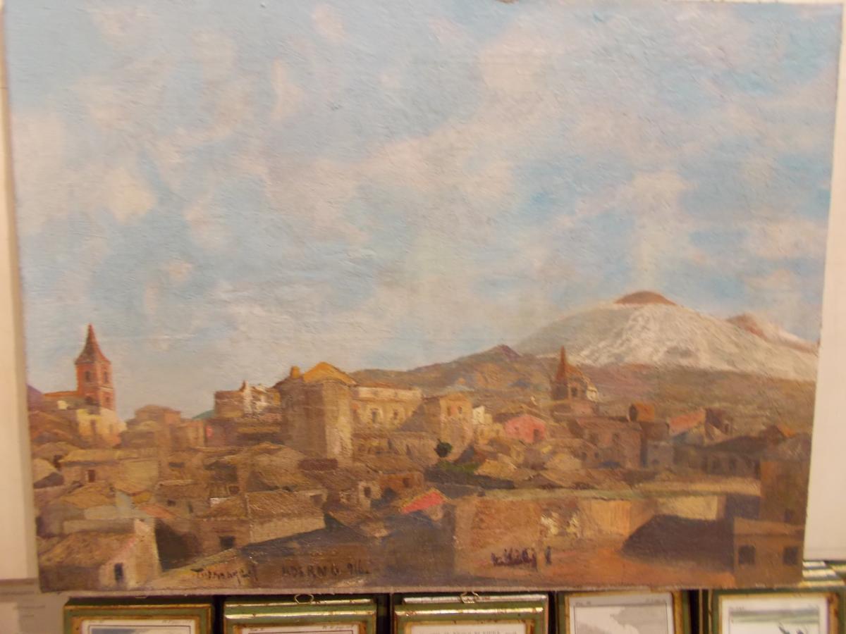 Huile sur toile vue de Adrano Etna Sicile