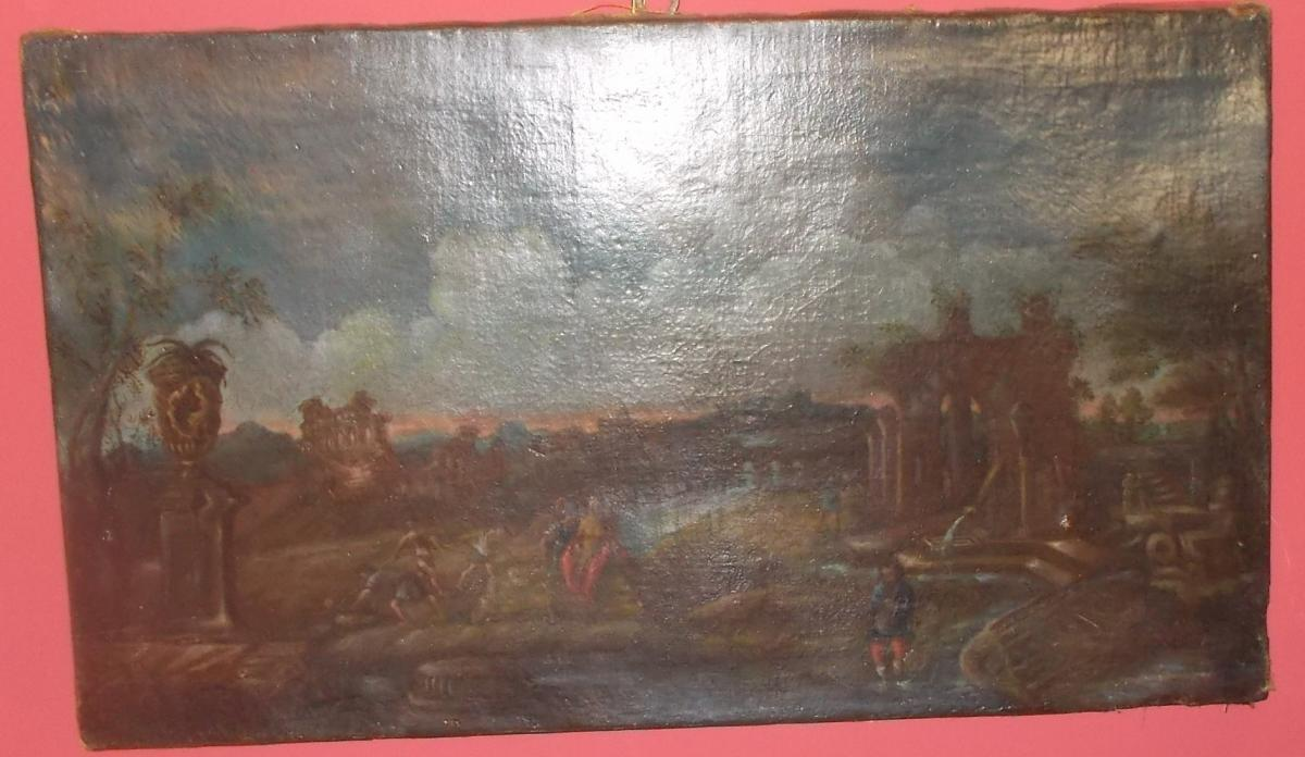 Oil On Canvas View Of  Roman Forum