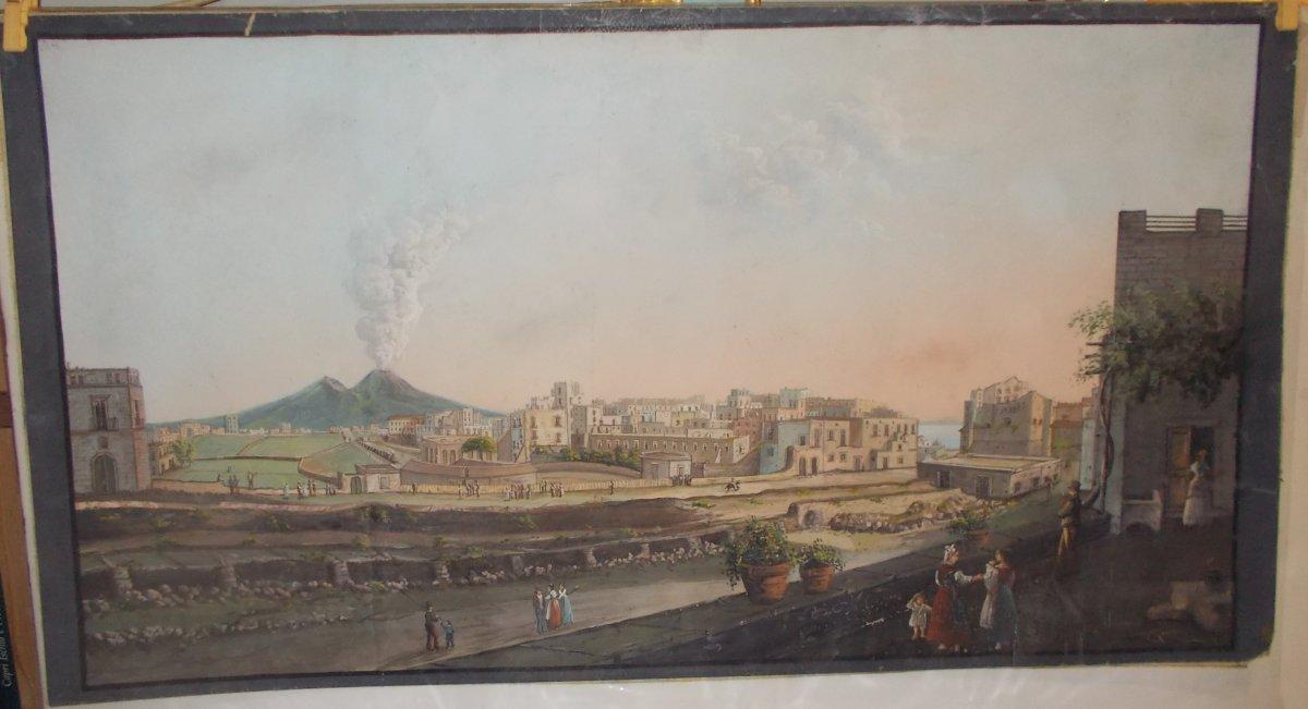 Gouache The Railway Naples - Portici