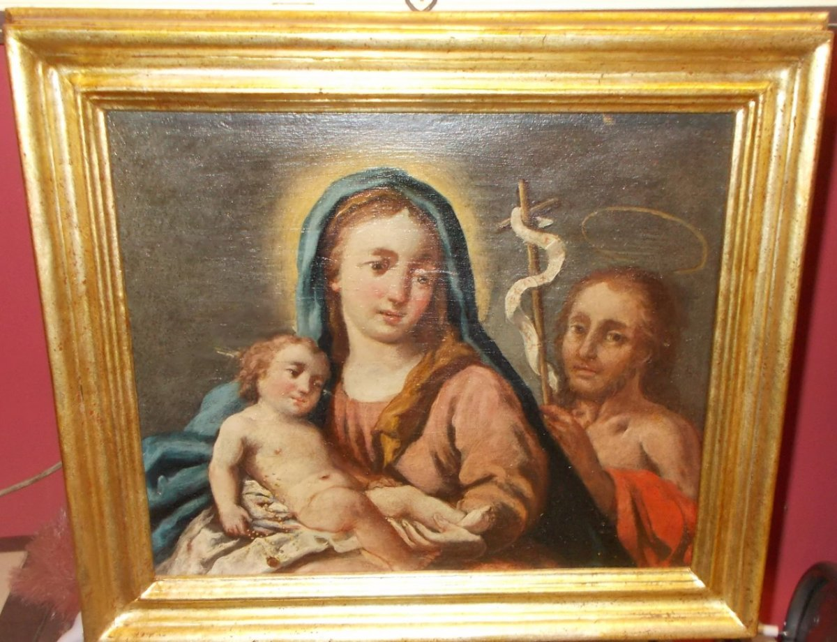 Huile sur bois Nativité avec Saint Gioacchino école Italienne