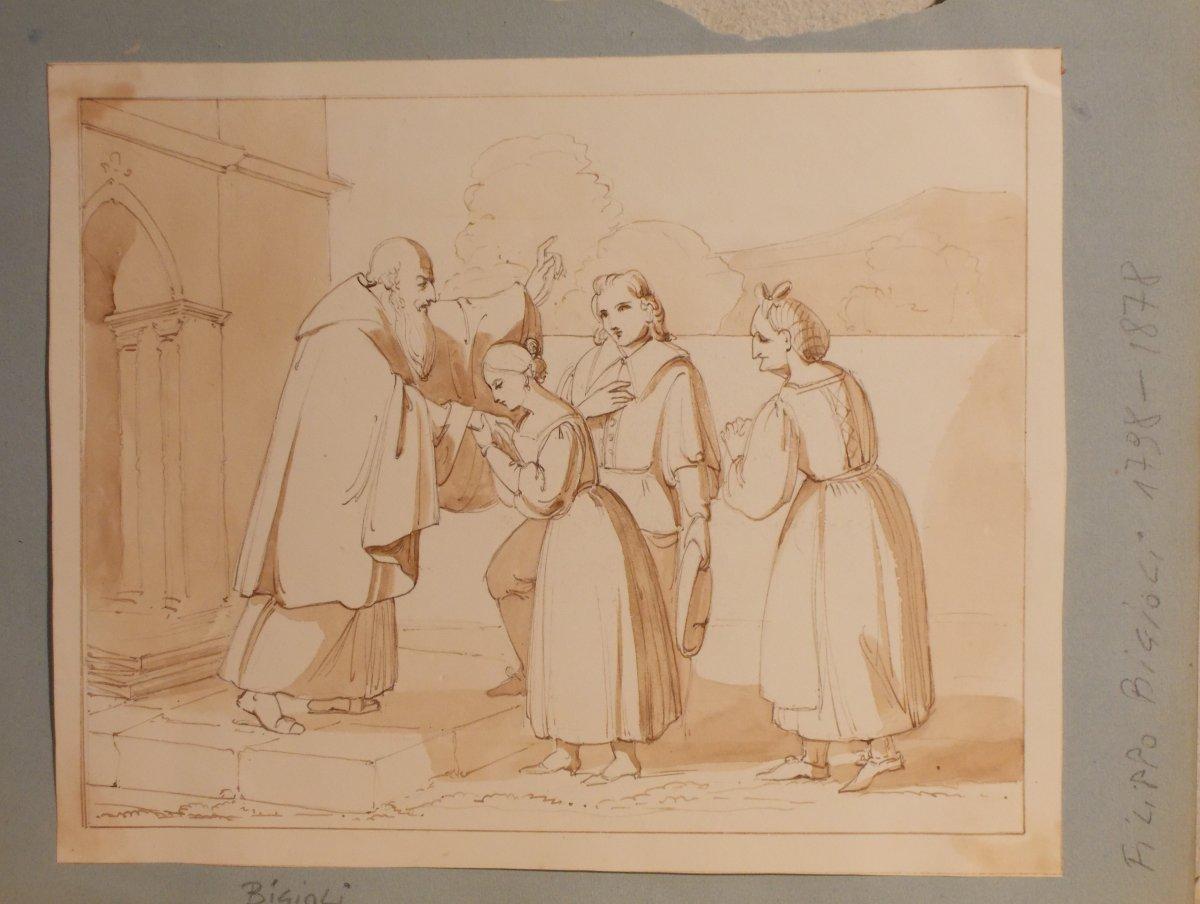 Deux dessins à la plume et à l'aquarelle sur papier  Bénédiction et Sainte Famille  F. Bigioli -photo-2