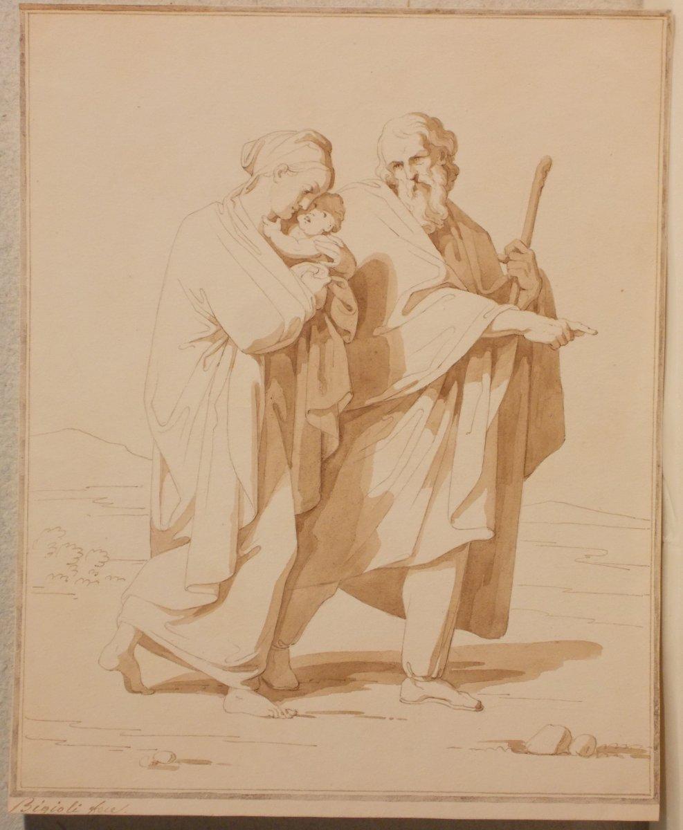 Deux dessins à la plume et à l'aquarelle sur papier  Bénédiction et Sainte Famille  F. Bigioli -photo-3