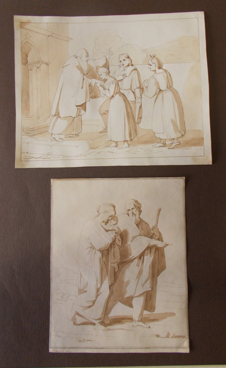 Deux dessins à la plume et à l'aquarelle sur papier  Bénédiction et Sainte Famille  F. Bigioli