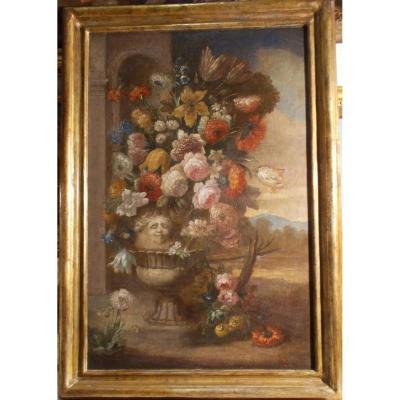 École italienne, vase avec fleurs, XVII/XVIII siècle