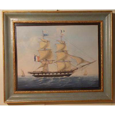 Gouache du 19ème siècle voilier battant drapeau Francais