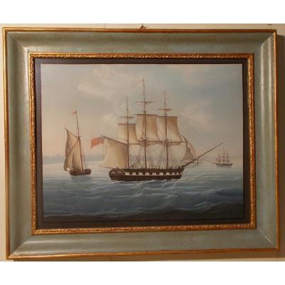 Gouache du 19ème siècle voilier battant drapeau anglais
