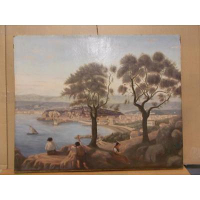 Peinture à l'huile du 19ème siècle Nizza France
