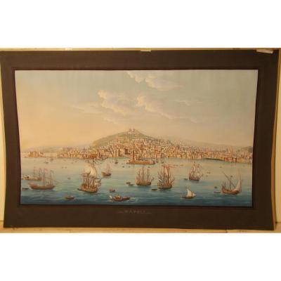 Gravure du 19ème siècle vue de Naples