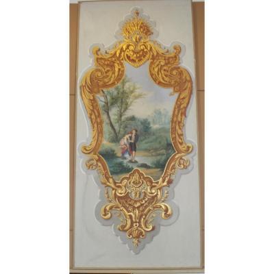 Aquarelle-gouache sur papier du 19ème siècle