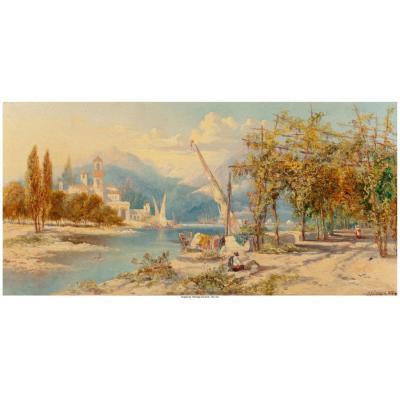 Peinture vue sur un lac Italien 1887