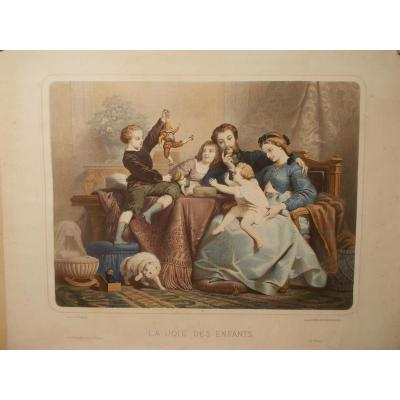 """19th Century Color Lithography """"the Joy Of Children"""""""