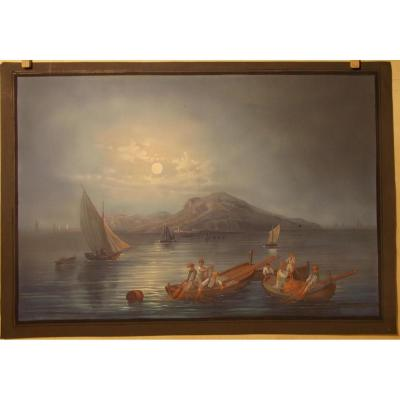 Gouache du 19ème siècle vue nocturne de Capri Naple Italie
