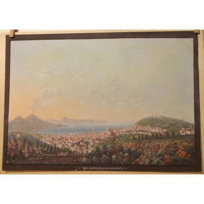Gouache du 19ème siècle vue de Naple depuis Capodimonte