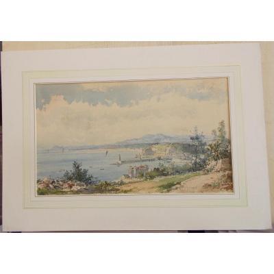 Aquarelle vue de Nizza 19ème siècle