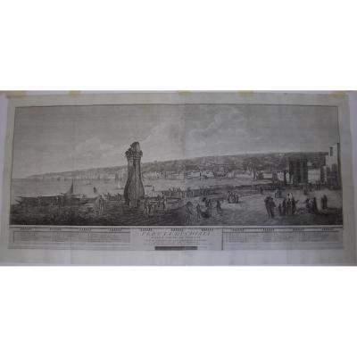 Couple gravures vue de Naples Ponte Nuovo et vue de Chiaia.