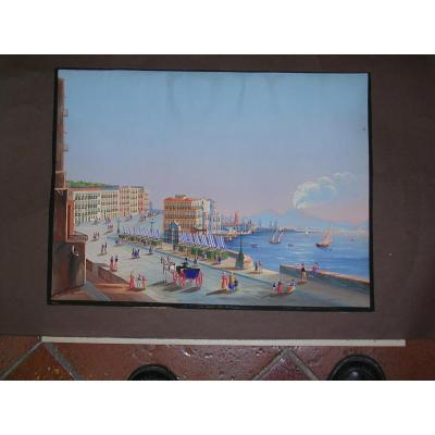 Gouache View Of Naples From Posillipo 19th Century