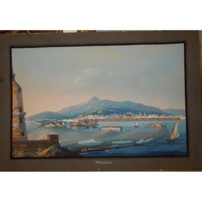Gouache View Of Messina Sicily 19th Century