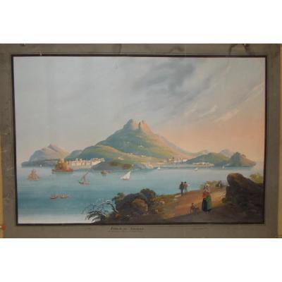 Gouache View Of The Island Of Ischia Naples 19th Century