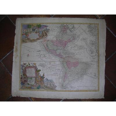 Gravure carte de l'Amérique Mattheus Seutter 18ème siècle