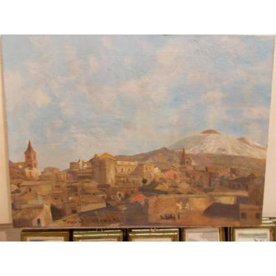 Oil On Canvas View From Adrano Etna Sicily