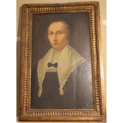 Oil On Panel Portrait Of Woman Flemish School
