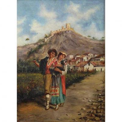 Oil On Canvas  View Alvito Lazio Italy