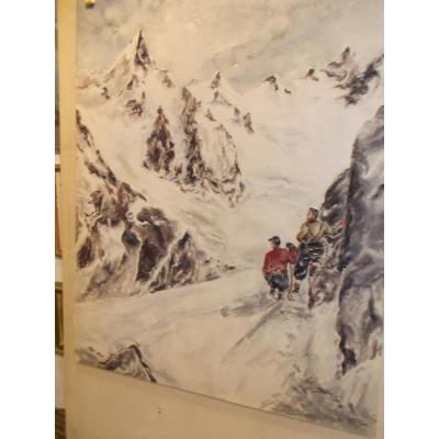 Watercolor On Paper Mount Cervin Mountain Climbing