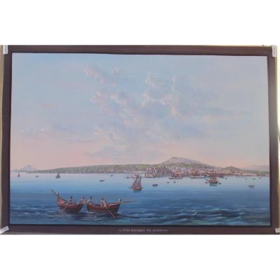 Gouache vue de Naples depuis la mer