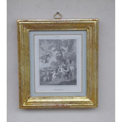 Religious Antique Engraving 1818 Holy Family After Painting By Francesco Albani