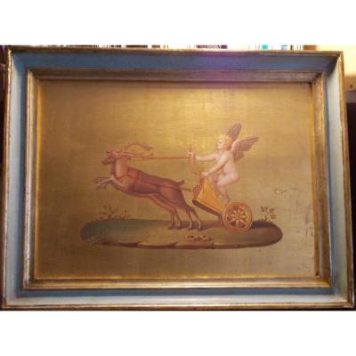 Peinture à l'huile sur fond d'or Cupidon  tiré par des  rennes 19ème  siècle  école italienne