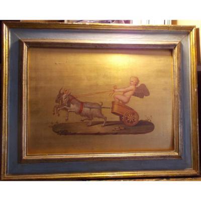 Peinture à l'huile sur fond d'or Cupidon tiré par des chèvres 19ème siècle école italienne