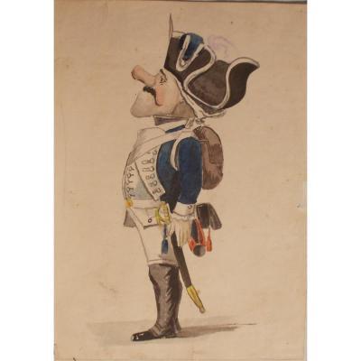 Watercolor  Paper Military  Sardinian Army 1789
