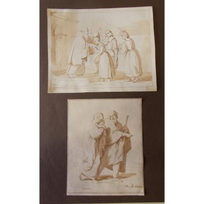 Two Pen And Watercolor Drawings On Paper Bénédiction Et Sainte Famille F. Bigioli