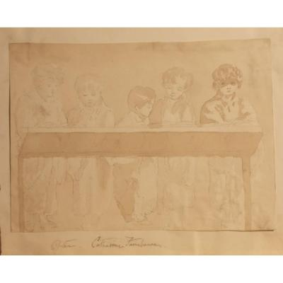 Drawing In Pencil And Watercolor On Paper Lesson In A  School 19th Century