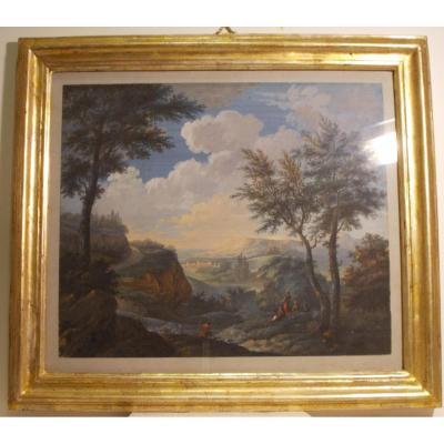 Gouache + aquarelle paysage  fluvial Jan - Baptista Pillement  (attribuée) 18ème siècle