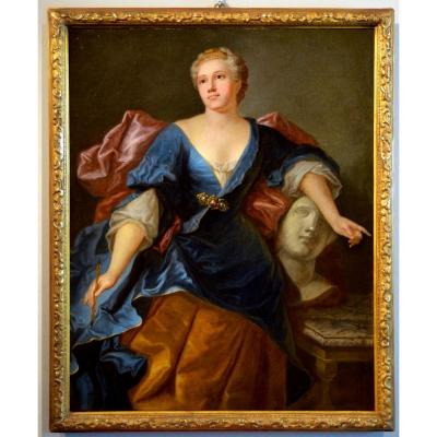 Jacopo Amigoni (venice 1682 - Madrid 1752), Portrait Of A Lady As Allegory Of Sculpture